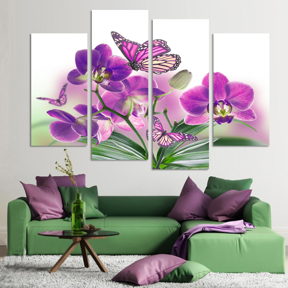 4 piece purple flowers paintings butterfly orchid art modern