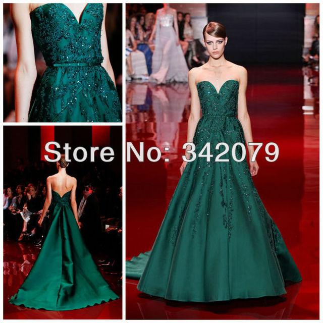 35325786467 Ph03423 vert émeraude chérie bustier en forme de dentelle guipure mikado  robe elie saab haute couture