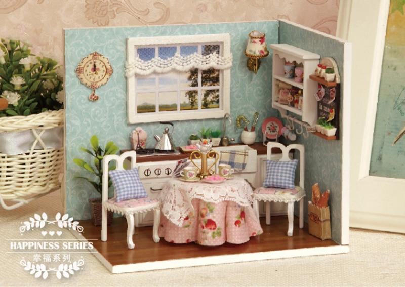 Keuken Kinderen Houten : Nieuwe houten speelgoed poppenhuizen miniatuur cottage keuken