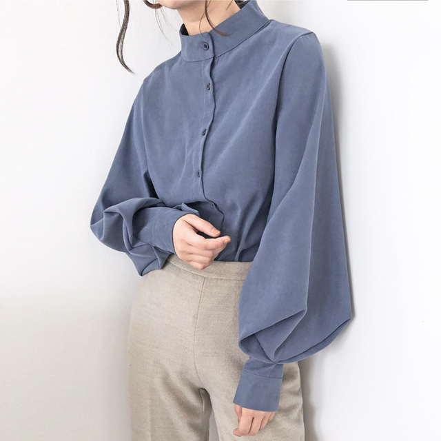 Vintage Lantern Sleeve Autumn Winter Thicken Women Shirt Blouses Single Breasted Blouse Female Loose Shirts Tops blusas mujer 4