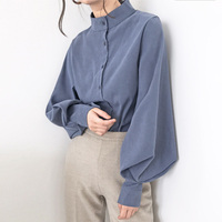 Vintage Stand Collar Lantern Sleeve Women Blouses Tops Single Breasted Blouse Shirt Female Casual Loose Shirts blusas mujer