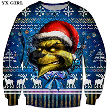 YX Girl Brand 2018 Women Christmas Gift Sweatshirt Hat Dog 3d Print Pullover for Men Casual Clothes Crewneck Streetwear