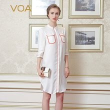 VOA white dark jacquard silk shirt womne stand collar half sleeve pocket edge arc pendulum blouse B7017