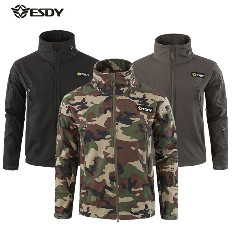 Winter Jacket Men Outdoor Sport Softshell Fleece Heated Jackets Waterproof Hiking Windbreaker Camouflage Tactical Camping Coat