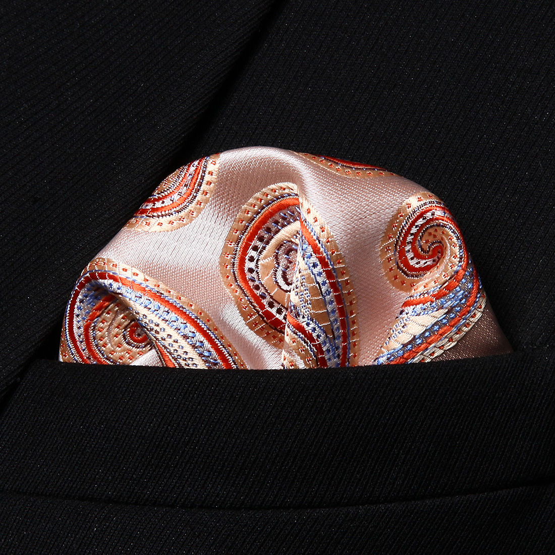 HP705N Orange Beige Paisley Men 100% Silk Party Handkerchief Pocket Square Hanky