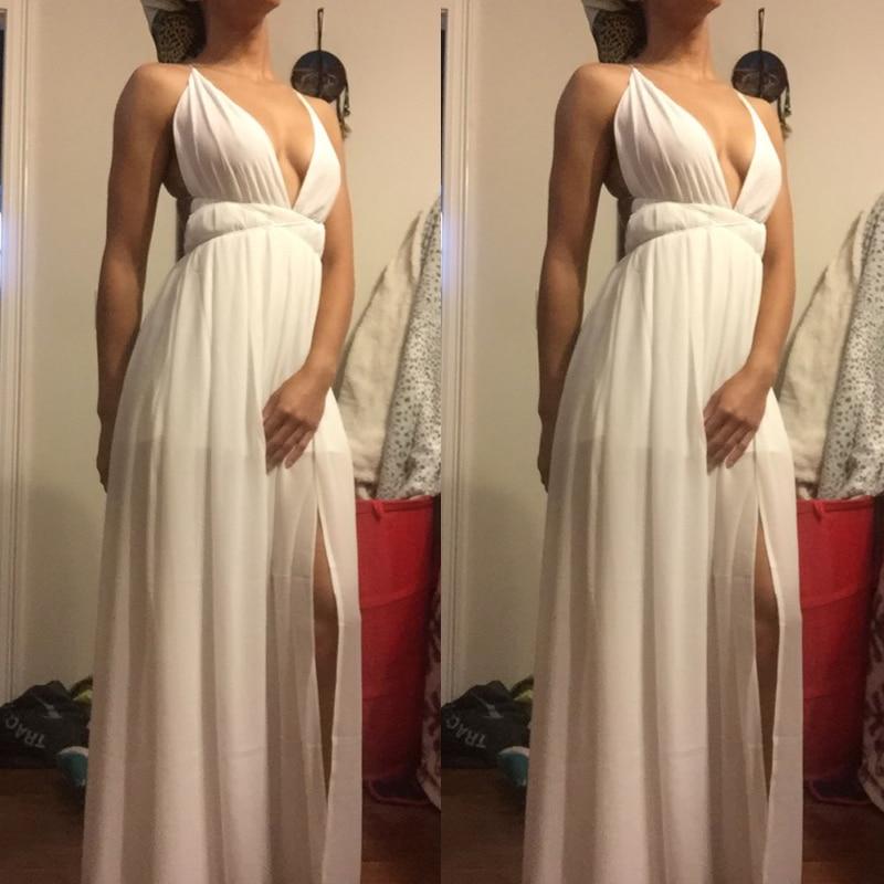 Summer Maxi Dress Women Solid Sexy Deep V-Neck Sleeveless Spaghetti Strap Backless High Split Long Sundress Vestidos 3