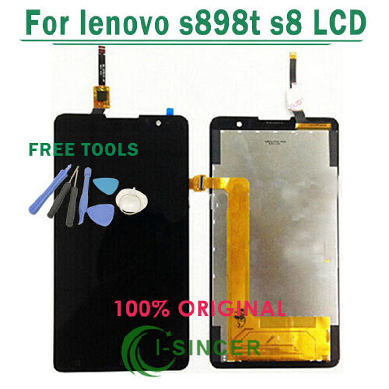 1/PCS For Lenovo S898t LCD Display With Touch Screen Digitizer Assembly Black +Tools Free Shipping 1 pcs for iphone 4s lcd display touch screen digitizer glass frame white black color free shipping free tools