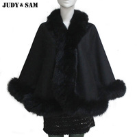 Luxury Women Ladies fur long coat cloak cape Batwing cashmere blends and fox fur Oversized Casual Poncho Winter shawl