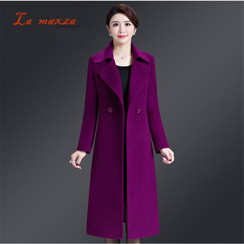 2018 Winter Women Wool Slim Coat Korean Style Elegant Women Clothes Long Coat Women Plus Size