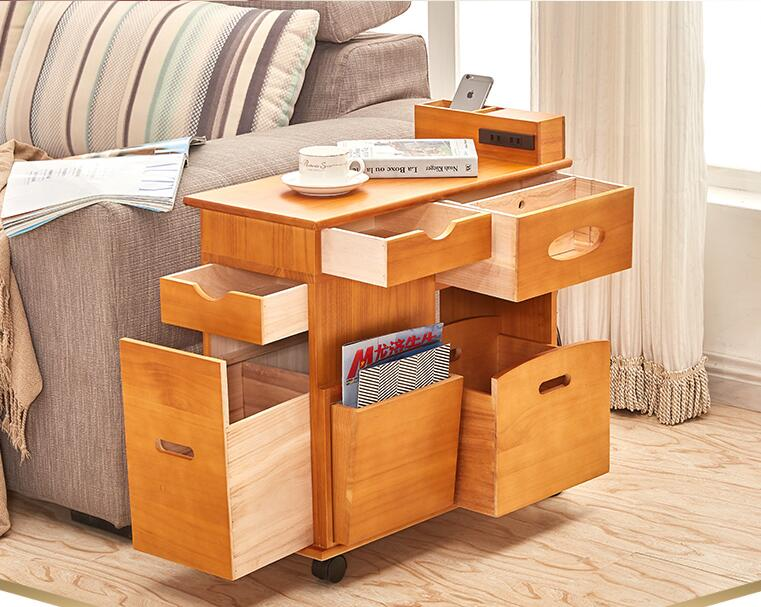 sofa table with a small tea table. Solid wood storage cabinet..16 toughened glass small tea table phone sofa the round table