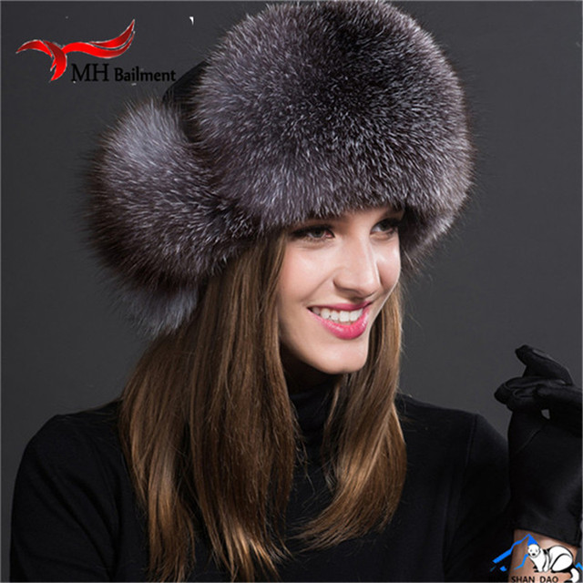 New Russia Hot Fox Fur Hat Fashion Winter Warm Raccoon Bomber Fox Fur Hat With Ear Flaps For Women Thick and Warm Fur Cap H#37