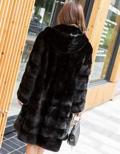 Image 4 - 90CM Länge Echte Nerz Pelz Mantel Jacke mit Hoody Dünnen Gürtel Winter Echte Frauen Pelz Oberbekleidung Plus Größe 3XL LF9045