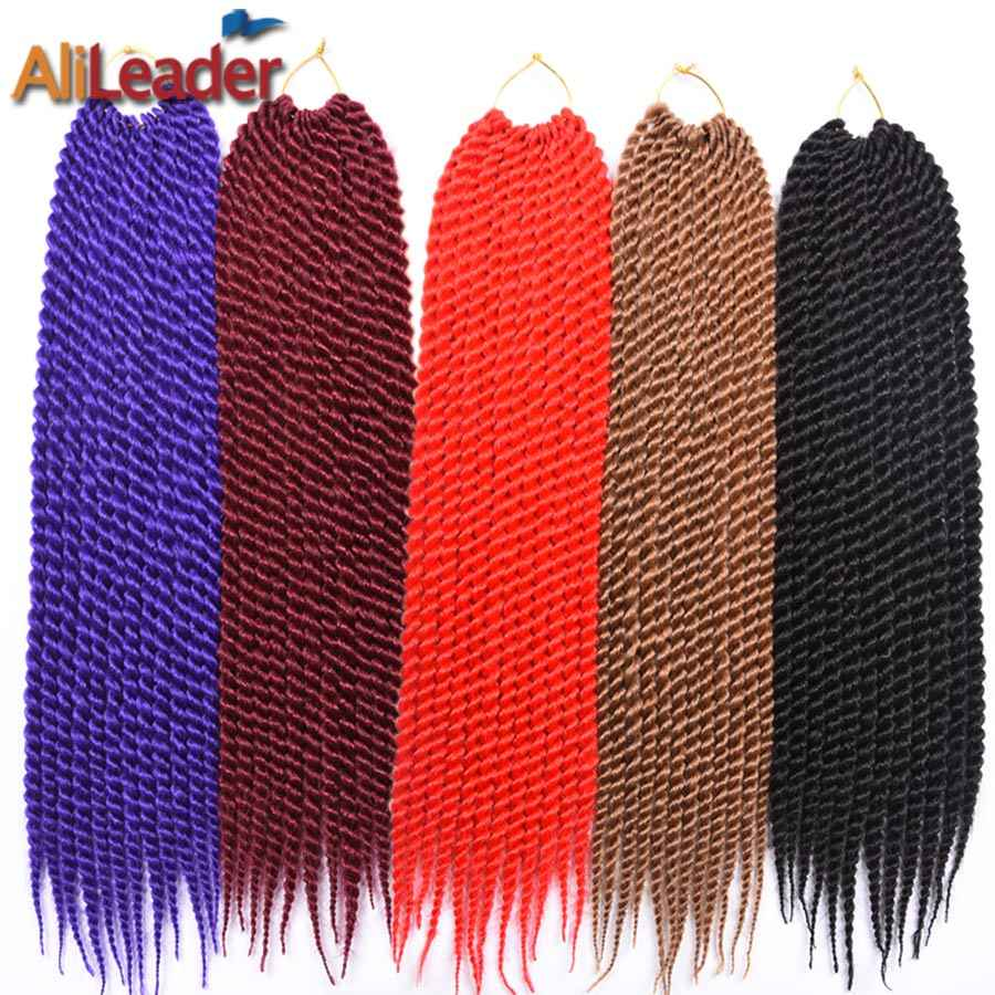 "AliLeader Senegalese Twist Hair Crochet Braids Kanekalon Synthetic Braiding Hair 22"" 12Roots/Pack Omber Crotchet Hair"