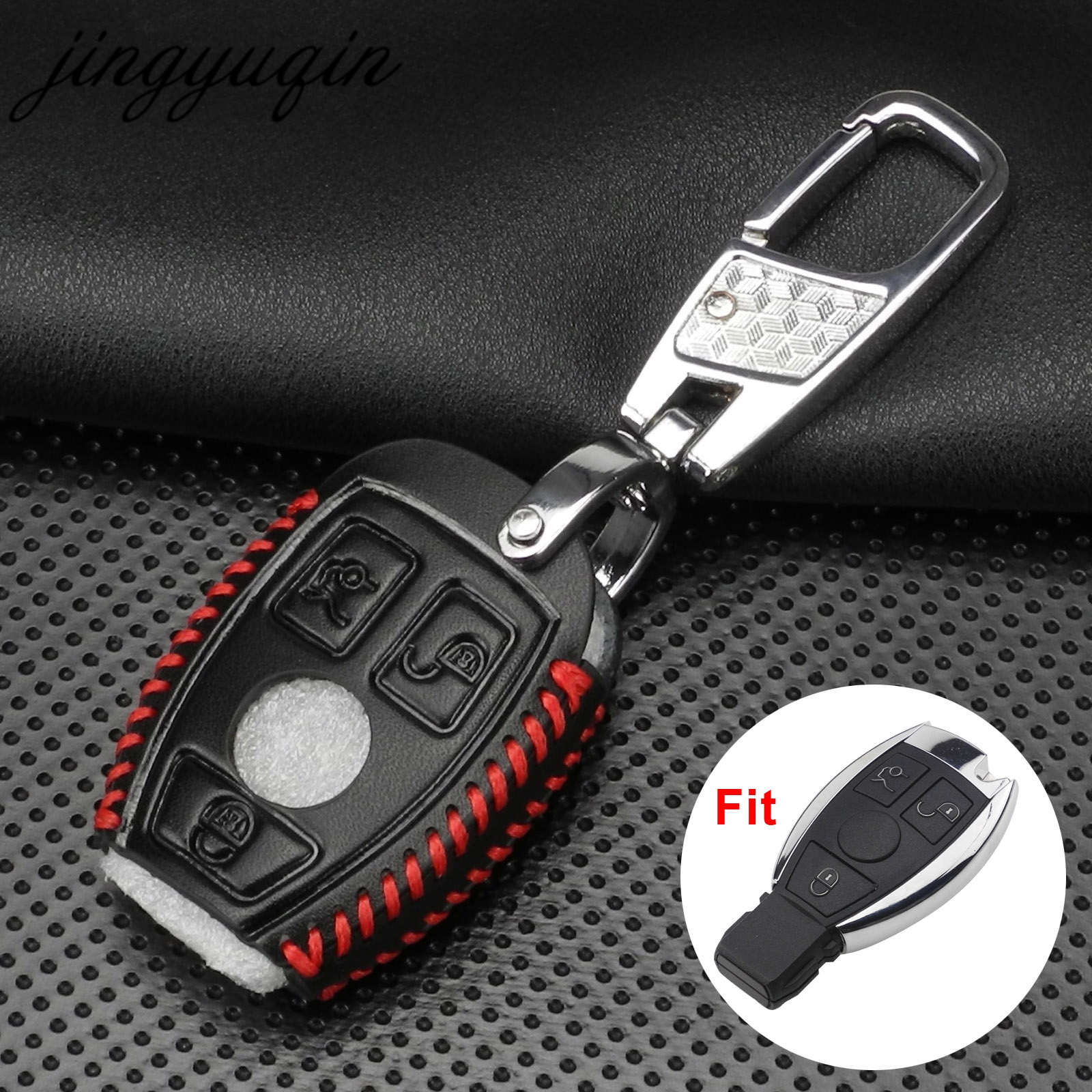jingyuqin Leather Car Key Bag Case Cover For Mercedes Benz W203 W210 W211 W124 W202 W204 W205 AMG Key Holder Chain Protector image