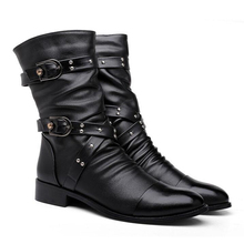 New Arriving Fashion Martin Winter Boots for Male Rivets pu  Leather British Motorcycle Men Boots Oxfords Zipper Size:38-43