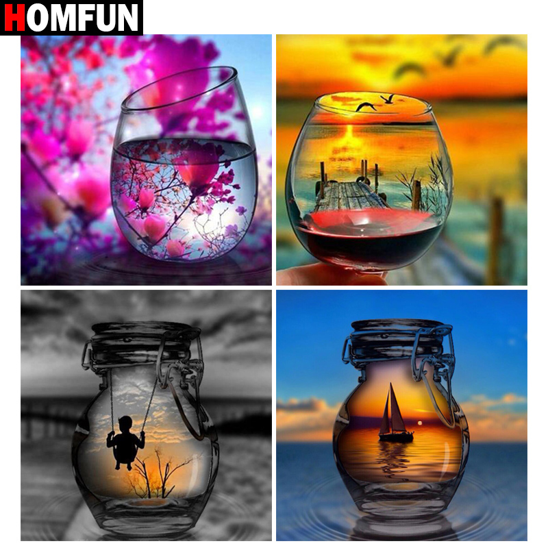 HOMFUN DIY 5D Diamond Painting Full Square Round quot Cup sunset scenery quot Diamond Embroidery Cross Stitch Picture Of Rhinestone in Diamond Painting Cross Stitch from Home amp Garden