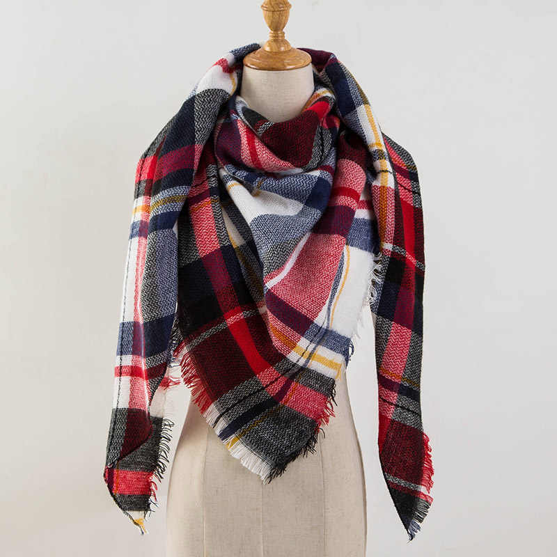 2019 Winter Triangle Scarf Women New Brand Designer Shawl Cashmere Scarves Plaid Blanket Women Scarves Wraps Drop Shipping