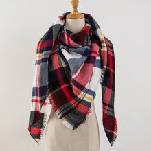 2018 Winter Triangle Scarf Women New Brand Designer Shawl Cashmere Scarves Plaid Blanket Women Scarves Wraps Drop Shipping(China)