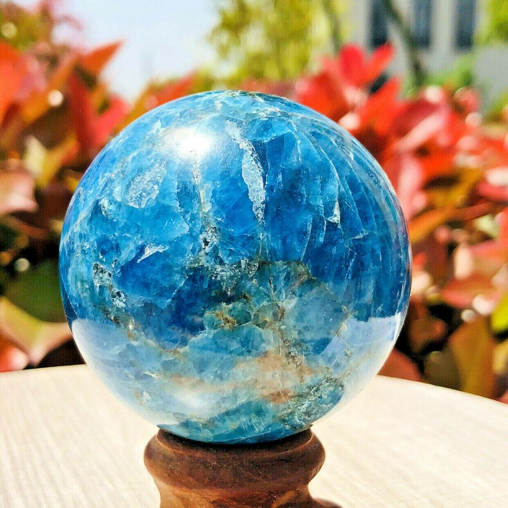 55-60mm Natural Blue Apatite Stone Sphere Crystal Reiki Healing Ball