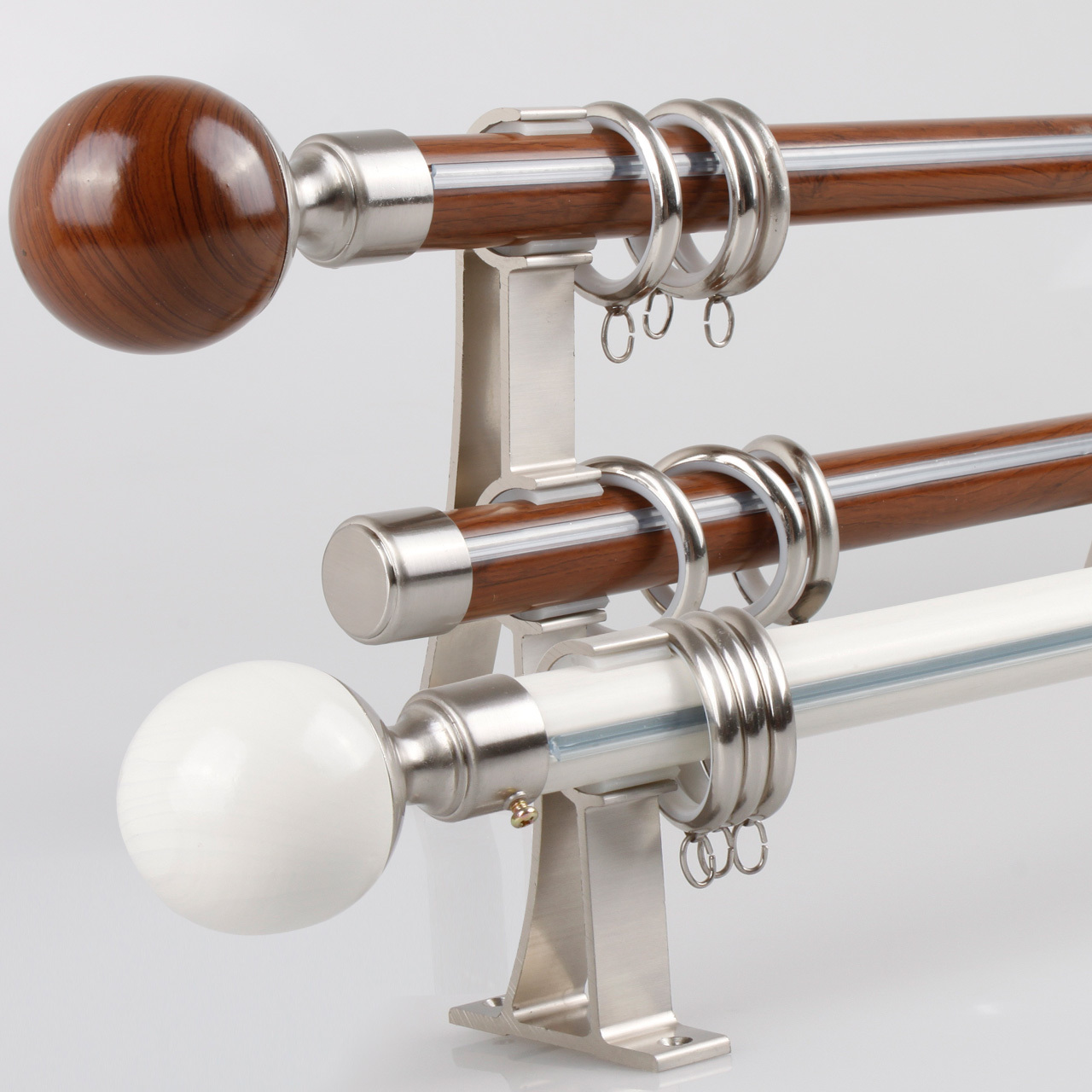 Wood double curtain rods - Thickening Of The Roman Aluminum Alloy Rod Nano Curtain Rod Mute Single And Double Pole Wood Grain