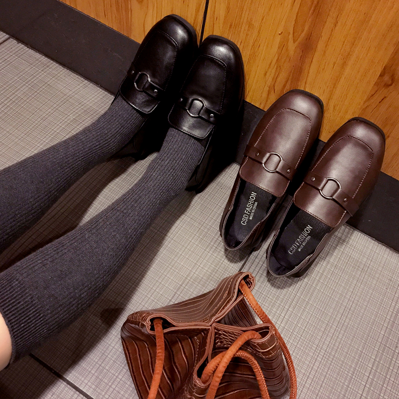 Square Toe Shoes College Students Shoes Uniform Shoes PU Leather Loafer Chic Monk Straps Shoes Low Heels