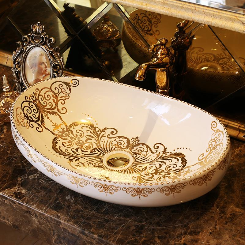 Best Big New Design Oval Shape Europe Vintage Style Art Wash Basin Ceramic  Counter Top Wash Basin Bathroom Sinks Hand Art Basin