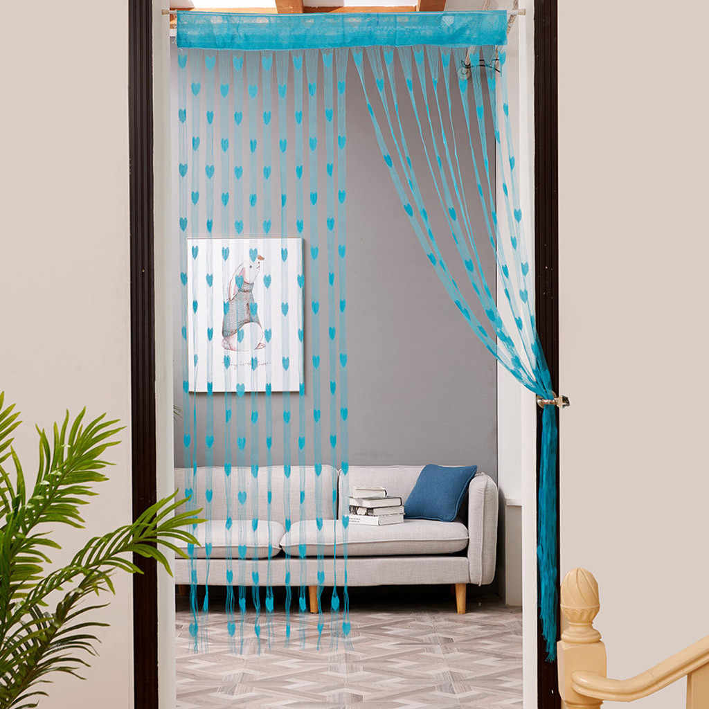 Love Heart String Curtain Window Door Divider Sheer Curtain Valance Curtains For Living Room Door cortina 50x200cm/100x200cm