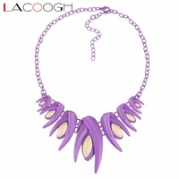 Lacoogh 2017 Women Big Chunky Necklace Alloy Chain Resin Pendant Collar Chokers Statement Necklaces Maxi Handmade