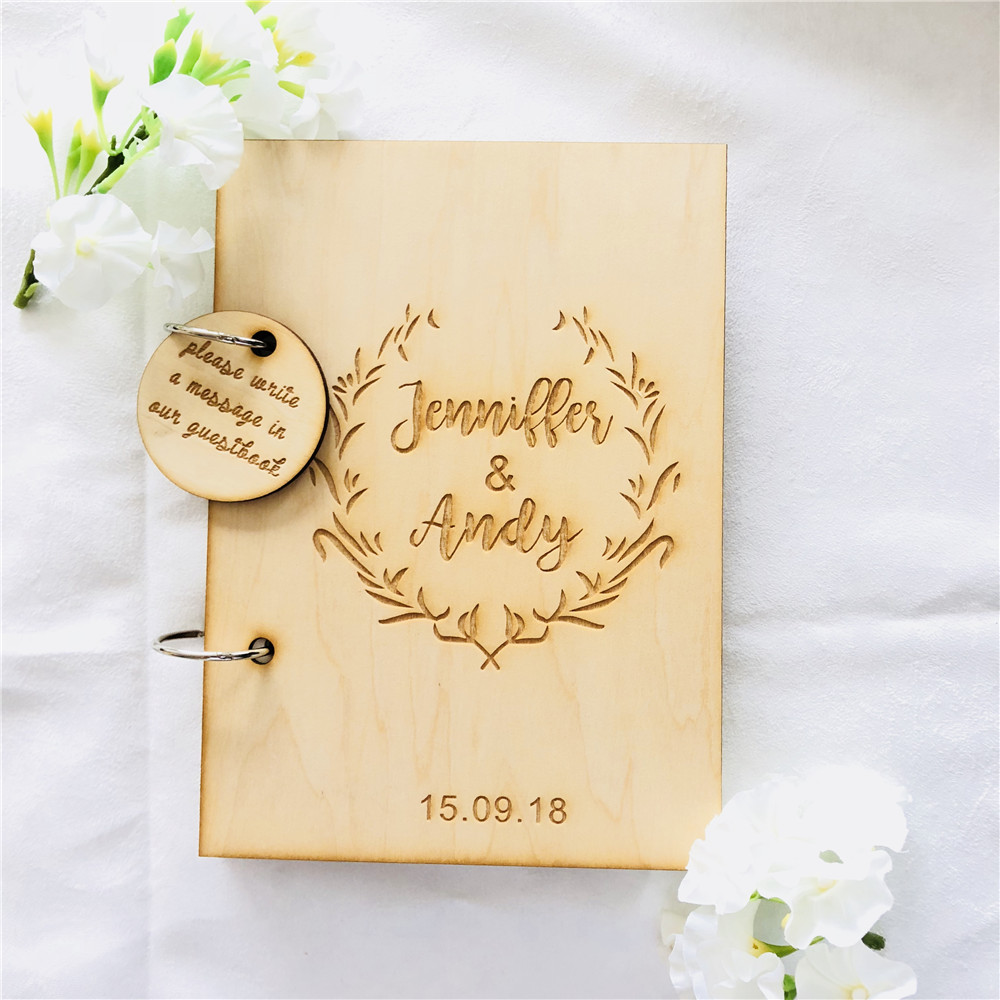 Wedding Cork Guest Book: Custom Engraved Wedding Guest Book Personalized Name