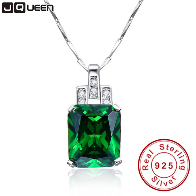 High Quality Emerald Necklace Jewelry 6.95ct Pendant Necklace Vintage Silver 925