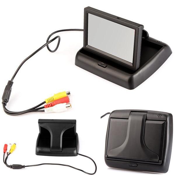 """От DHL или EMS 30 комплектов/партия, 4,"""" TFT складной Цвет ЖК-дисплей автомобильный монитор зеркало заднего вида 16:9 Security Monitor 12V"""