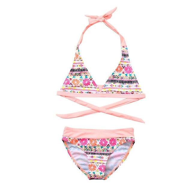 ISHOWTIENDA Children Girls Bikini Beach Flower Print Swimsuit+Shorts Swimwear Set 2019 Halter Summer Swimsuit Girls New