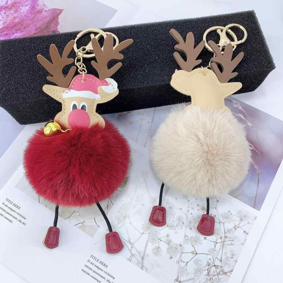 PU หนังคริสต์มาส elk bells ลูกกุญแจแหวนจี้ขนสัตว์เทียมกระเป๋าเครื่องประดับคริสต์มาสของขวัญ