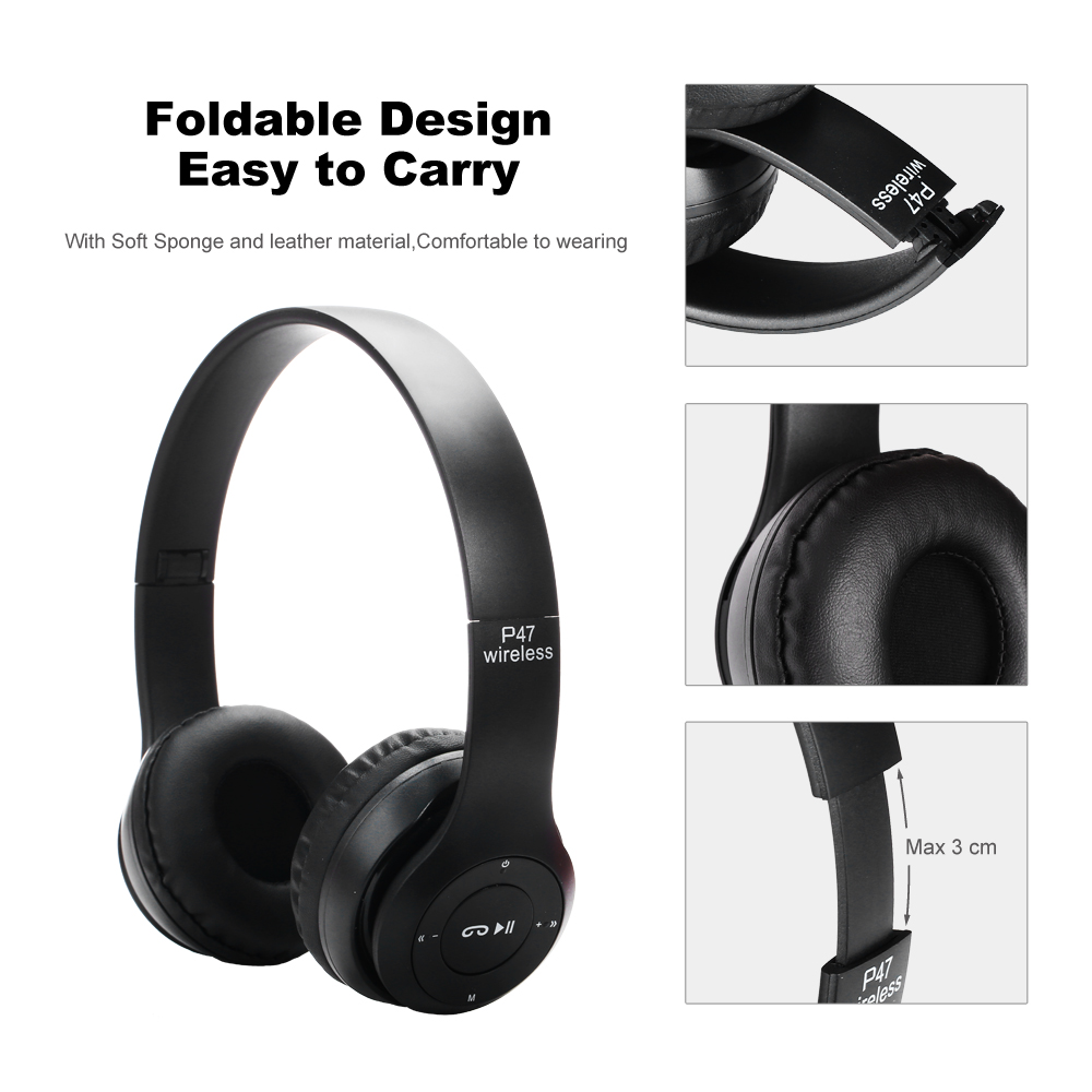 Image 5 - Wireless Headset Bluetooth Foldable  Headset EDR Earphone with Mic FM Radio Strong Bass Music For Phone Pad PS4-in Bluetooth Earphones & Headphones from Consumer Electronics