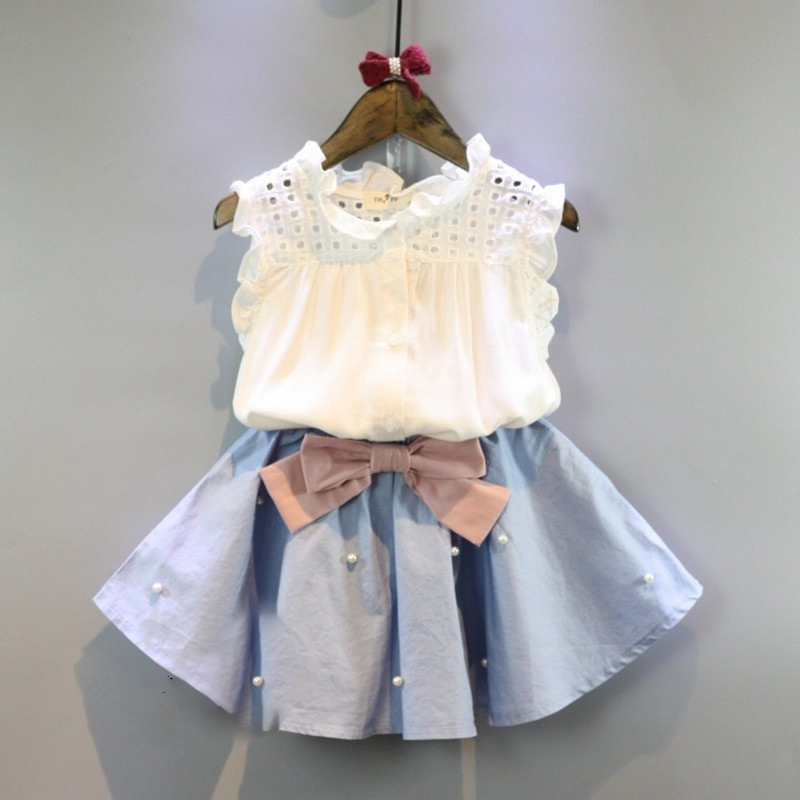 HTB12CBSSXXXXXXMXVXXq6xXFXXXW - 2-8 Years Kids Clothes for Girls The Bow Skirt and Lace Top Summer Suit Korean Style Children's Clothing Sets Baby Toddler Set