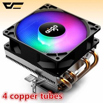 Aigo PC CPU ventilateur de refroidissement refroidisseur 4 caloducs ventilateur refroidisseur de processeur radiateur aluminium radiateur refroidisseur de processeur pour LGA/115X/AM3/AM4/1366/2011