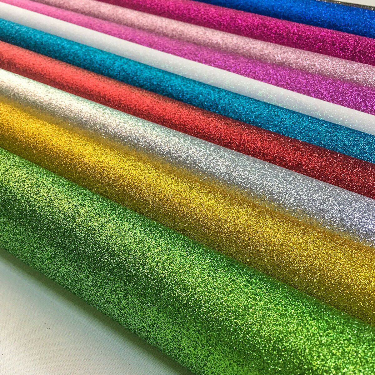 Fine Glitter Fabric Roll Iridescent Sparkle Faux Leather Craft Material Bows Bag Decor DIY