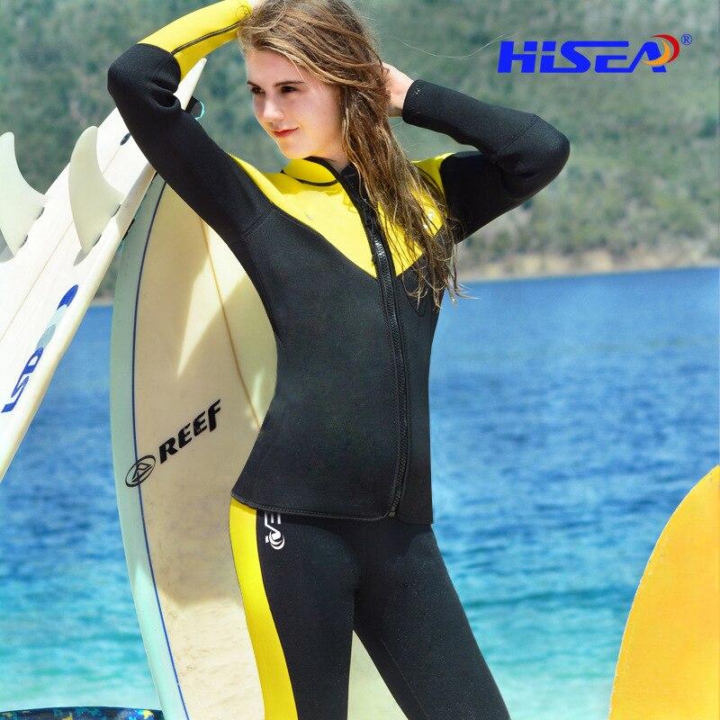 2.5mm Néoprène Plongée Costume Pour femmes Natation Surf Saut Costume Revêtement Chaud Combinaison Jarretelles Pantalon Et Veste Plongée Avec Tuba