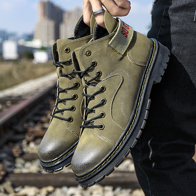 Men's First Layer Pigskin Martin Boots 2018 New Autumn Winter High Quality Man Work Shoes Non-slip Adult Waterproof Combat Shoes france tigergrip waterproof work safety shoes woman and man soft sole rubber kitchen sea food shop non slip chef shoes cover
