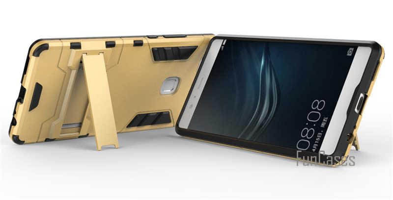 Per Huawei P9 Plus Caso 5.5 pollici Dual Layer Hybrid Rugged armatura Dura del PC + TPU Antiurto Con Kickstand Custodia Per Huawei P9 più