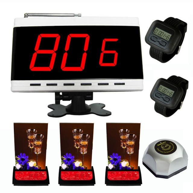 Botão de chamada sem fio para o hotel, 3 pcs botão menu com o serviço, conta, cancelar e um botão, 1 tela grande. 2 relógio receptor.