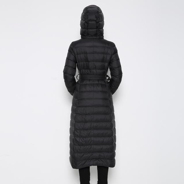 Fitaylor nowe zimowe kobiety Ultra lekka kaczka dół długi płaszcz Single breasted plus rozmiar ciepłe Snow Outwear Slim hooded Parkas