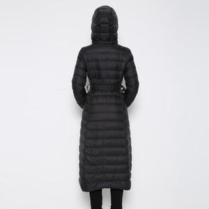 Image 3 - Fitaylor abrigo largo ultraligero de invierno para mujer, Abrigo largo con plumón de pato y una botonadura de talla grande, prendas de vestir cálidas para nieve, Parkas entalladas con capucha