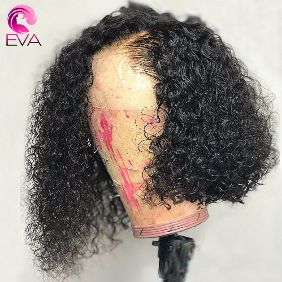 Eva 13x6 Short Curly Lace Front Human Hair Wigs With Baby Hair Brazilian Remy Bob Lace Front Wigs Pre Plucked Bleached Knots Wig