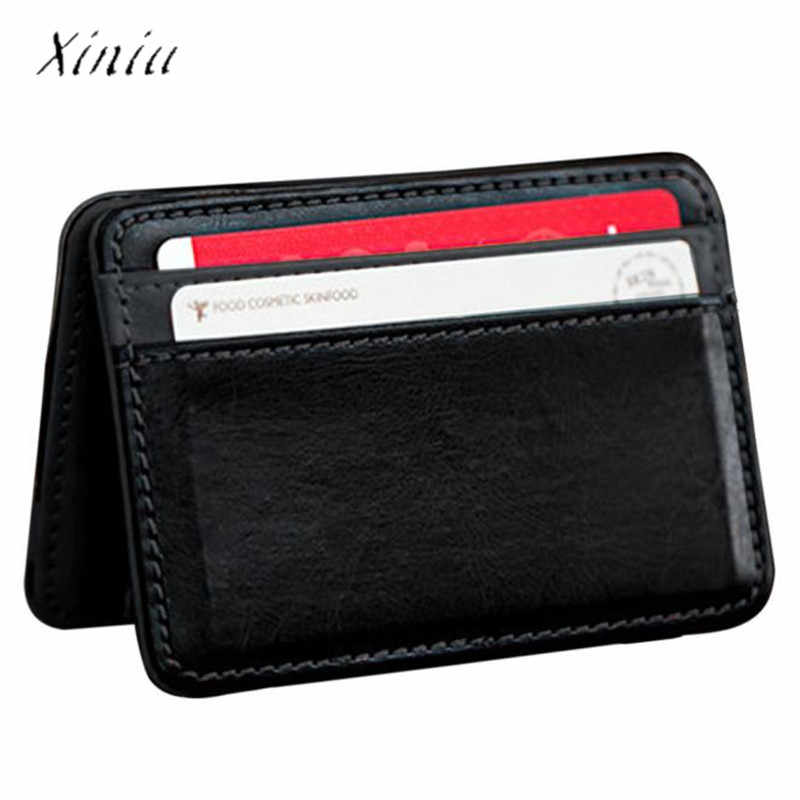 Unisex Wallet Card Holder Women Men Mini Neutral Artificial Leather Magic Bifold Leather Wallet Purse 2017 New Fashion Purse