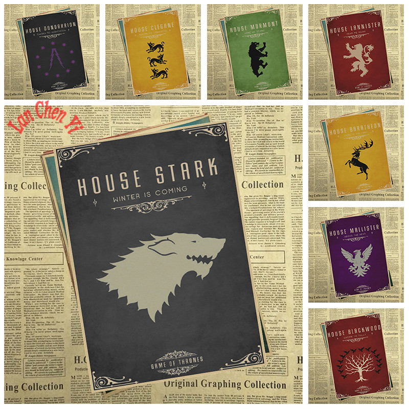 Multiple awards TV play Game of Thrones Kraft Paper Poster Cafe Creative wallpaper Interior Decoration Free Shipping