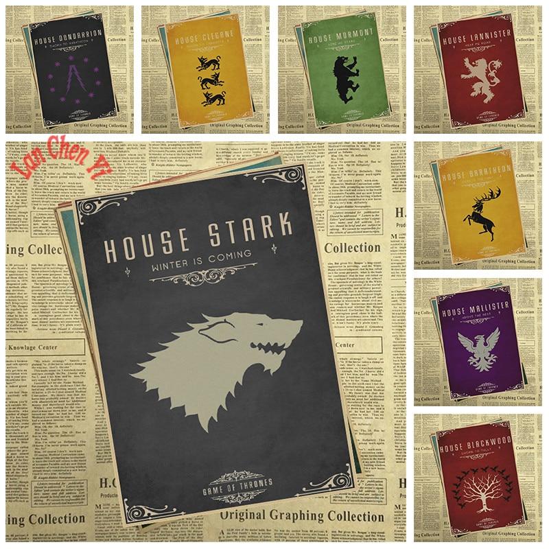 Múltiples premios de TV juego Juego de Tronos Kraft Paper Poster Cafe Papel tapiz creativo Decoración de interiores Envío gratis