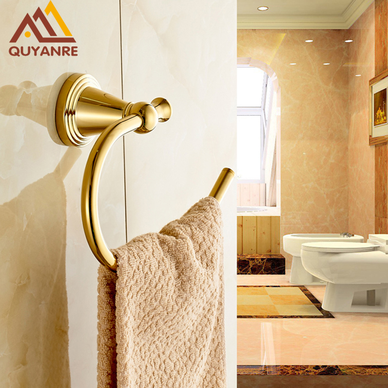 Free Shipping Golden Color Solid Brass Bathroom Bath Towel Ring Holder Wall Mounted free shipping brass chromed bath