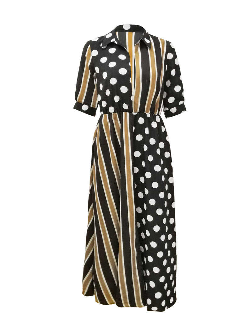 Streifen Stipdruk Kontrast Lange Kleid Frauen Vorder Split Halbe Hülse Herbst Kleid Elegante V-hals Party Maxi Kleider