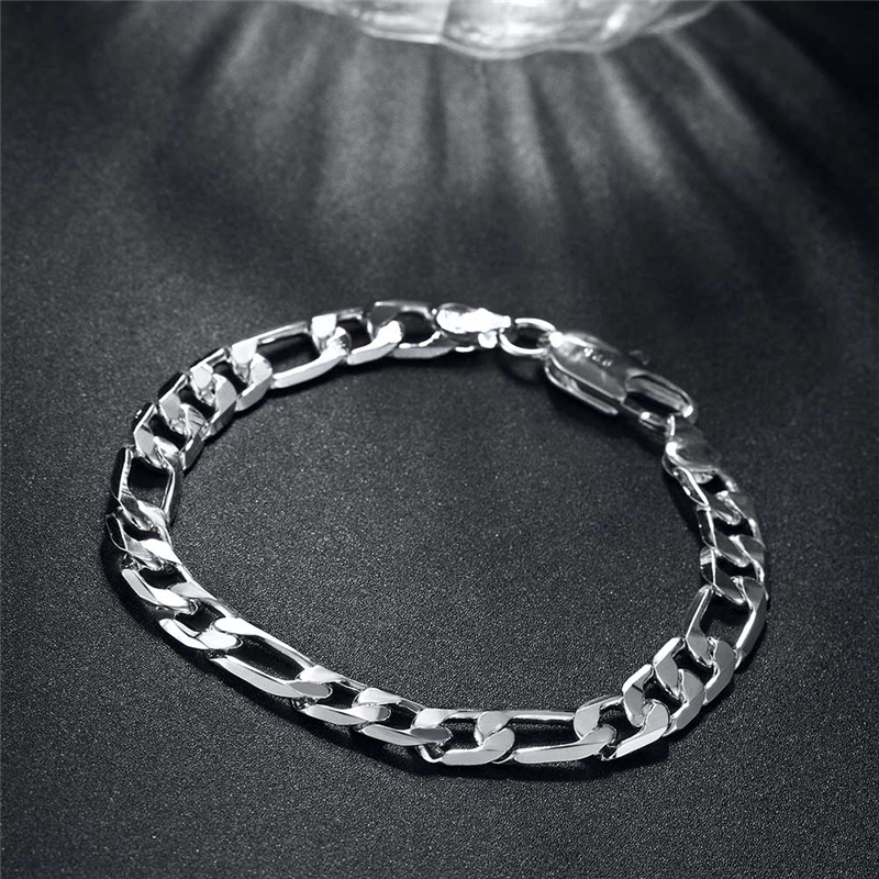 Beiliwol Silver Color Mens Fashion Bangle 8 inches Figaro Chain Bracelet Jewelry fot Men width 8mm